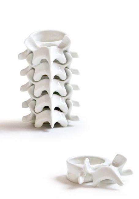 celia nkala, vertebra, stackable candle-holder; enameled porcelain. modular.