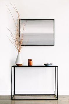 minimalist foyer table styling fashion blogger at home blair staky of the fox and