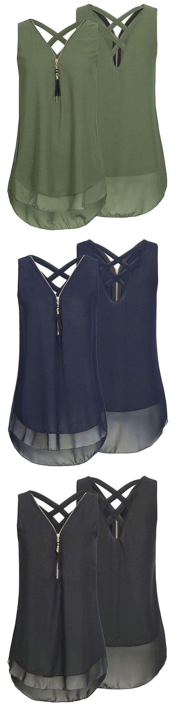 Casual Women Solid Zipper V-Neck Backless Chiffon Tank Tops