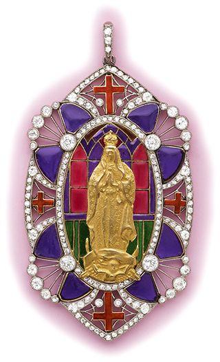 Art Nouveau Plique-à-jour, diamond, gold and platinum pendant.