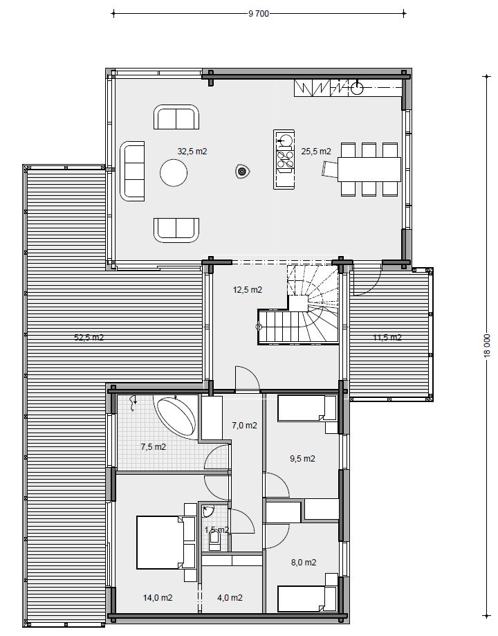 Honka Blockhaus Modell Fusion Bretagne Esszimmer Gundriss