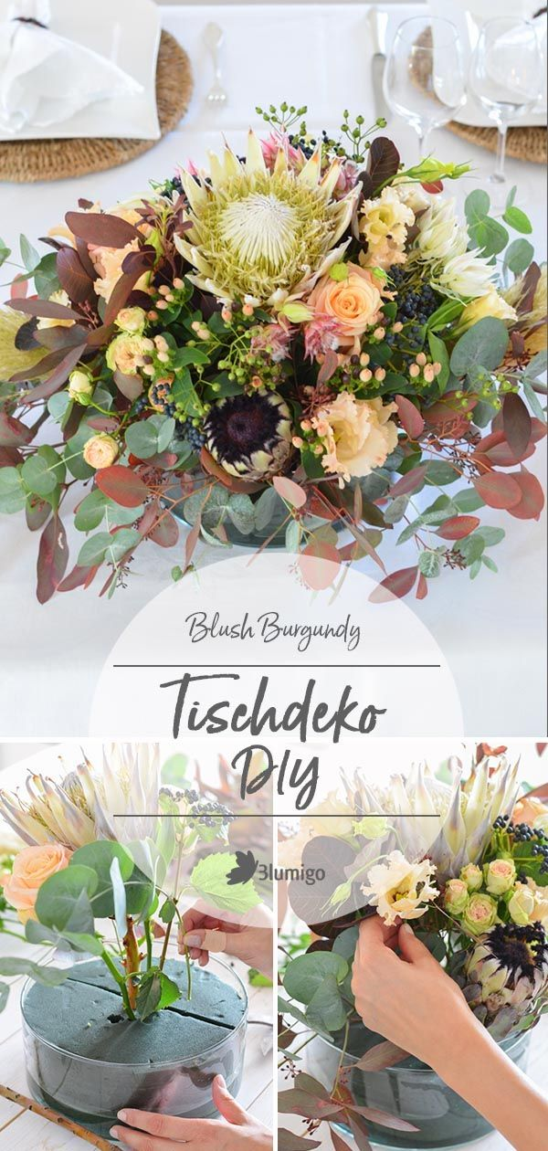 Tischdeko in Blush und Burgundy selber machen – Elegante