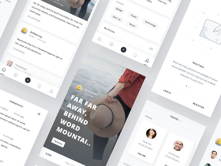 Dribbble - Mobile Blog App UI kit by Ghani Pradita