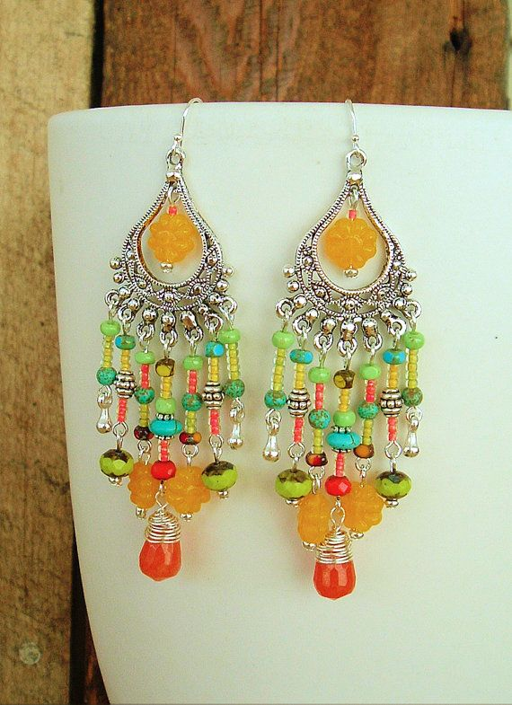 Boho Chandelier Earrings Fun Citrus Colors Hippie by BohoStyleMe
