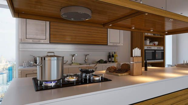 Fabulous A built in wall of cabinets and appliances saves space in this apartment kitchen Lofty Living Pinterest Apartment kitchen Apartments and Kitchens