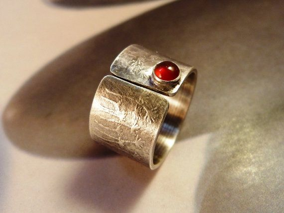 Dandelion ring carnelian silver ring adjustable red by Mirma