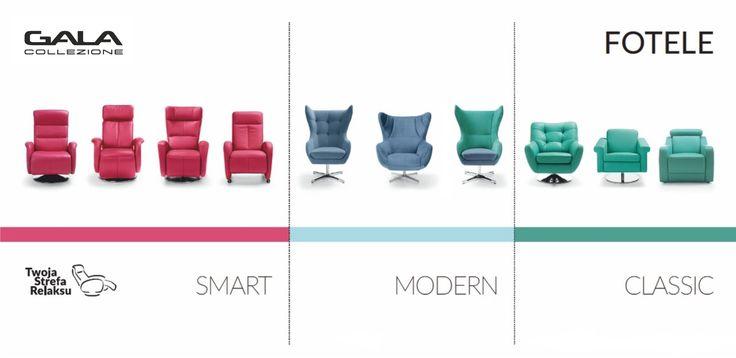 """Fotele Gala Collezione tworzące """"Twoją Strefę Relaksu"""" to wygodne meble w trzech kategoriach: SMART - czyli fotele z funkcją relaksu, CLASSIC - czyli klasyczne wzornictwo w połączeniu z komfortem i wygodą oraz MODERN - czyli nowoczesny design i funkcjonalność. Wybierz swój ulubiony model do swojego salonu. #GalaCollezione #fotele #dodatki #inspiracje #inspiration #design #interiordesign #meble #armchair #armchairs #twojastrefarelaksu"""