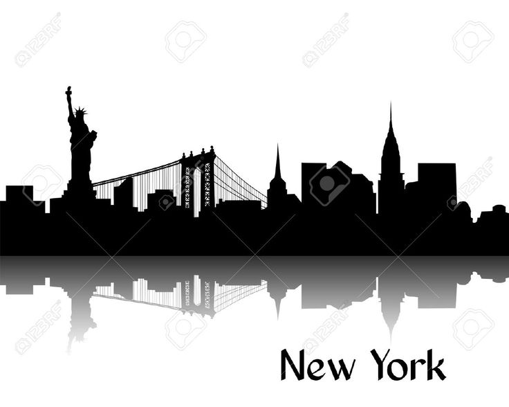 Silhouette Noire De New York, La Capitale Des Etats-Unis Clip Art Libres De Droits , Vecteurs Et Illustration. Image 16456288.