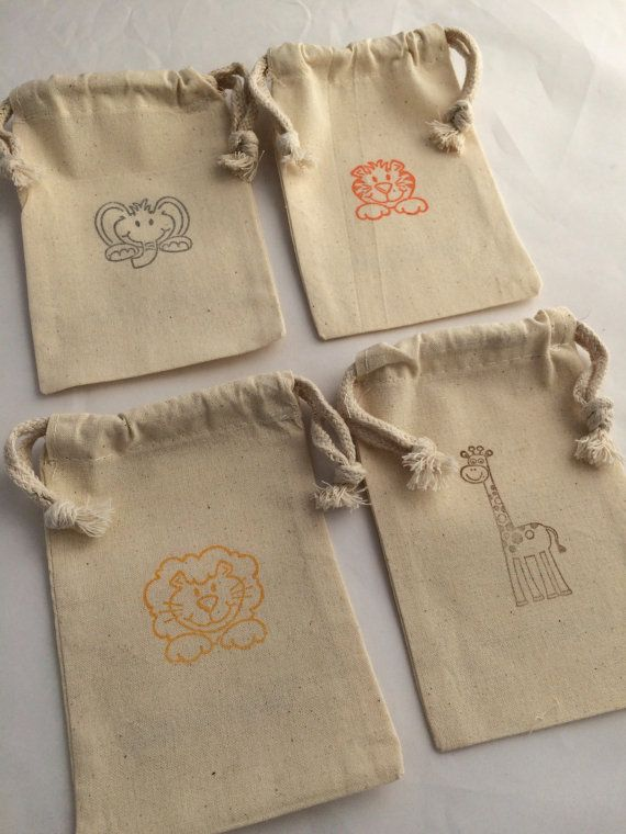 Jungle Animals Favor Bags: Muslin Bags With by MadHatterPartyBox