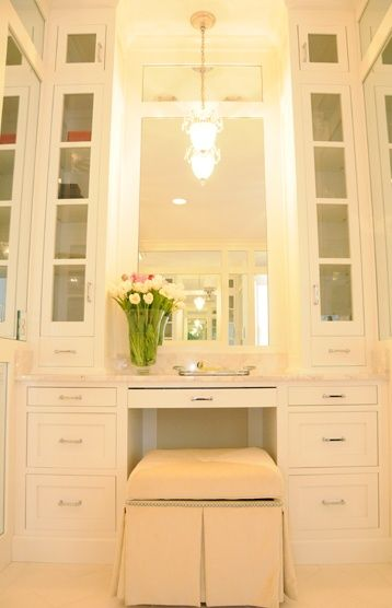 Built-in vanity; Chestnut Hill Home.  I WOULD LIKE THIS IN MY NEW CLOSET!