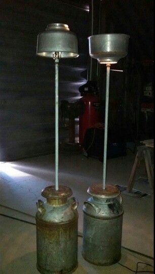 Old Milk Can Floor Lamp With A Cream Separator As The Lamp