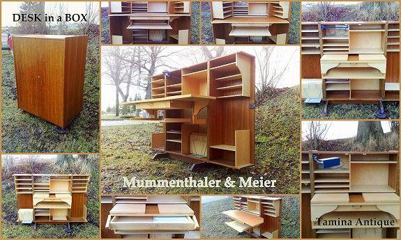 Mummenthaler & Meier Desk in a Box - Skatoll - Retro Teak Design Skrivebord - Sammenleggbart Hjemmekontor - Folding Desk