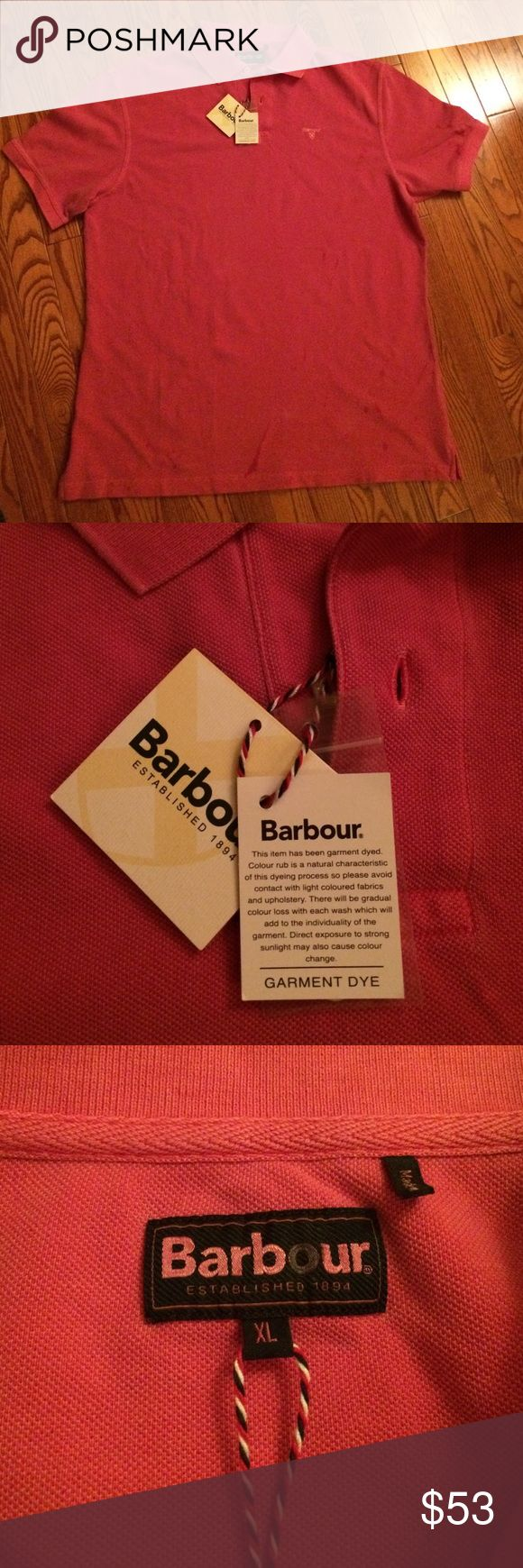Barbour Men's polo-xlarge. NWT. Brand new fushia washed sports polo. Men's XL. Classic Barbour- smart, casual, and comfortable. Barbour Shirts