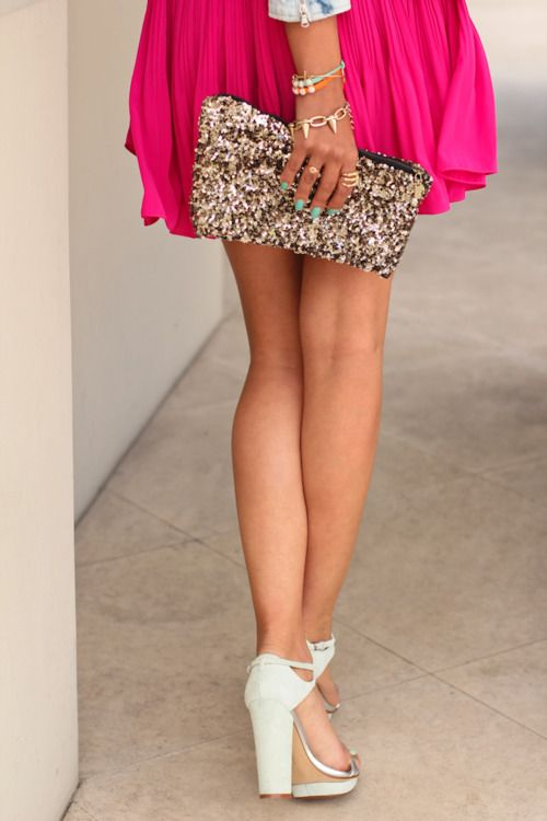 love it all: Pink Sparkle, Fashion, Style, Dream Closet, Clutches, Bag, Hot Pink