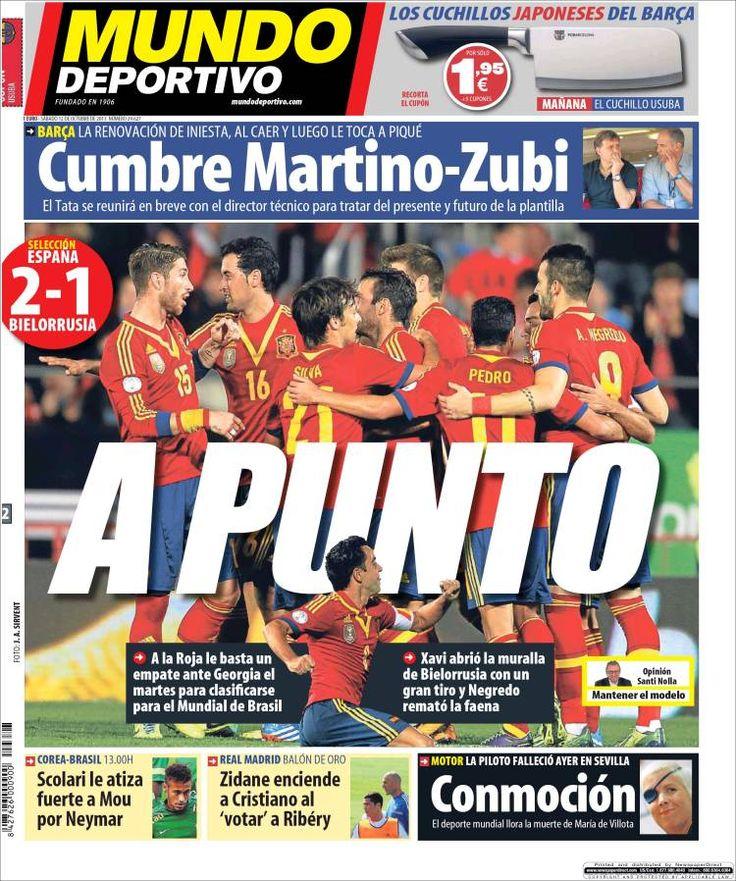 Los Titulares y Portadas de Noticias Destacadas Españolas del 12 de Octubre de 2013 del Diario Mundo Deportivo ¿Que le pareció esta Portada de este Diario Español?