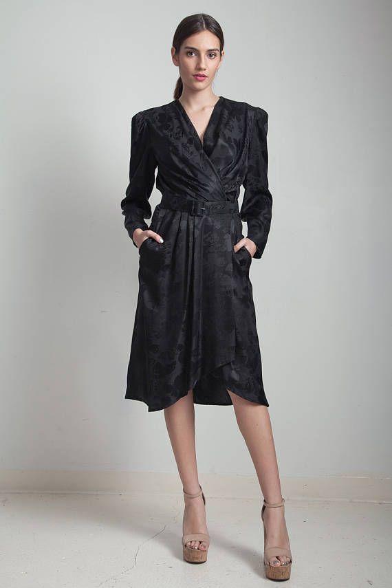 VENTA vintage años 80 abrigo de seda negro vestido floral