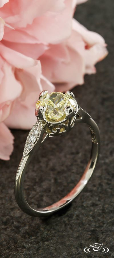 Vintage Inspired Yellow Diamond Engagement Ring. Green Lake Jewelry 104634