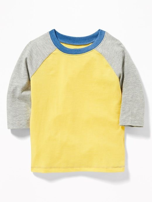 0a1c7d732 Old Navy Toddlers' Raglan-Sleeve Baseball Tee Yellow/Heather Gray Size  18-24 M