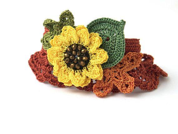 Bracelet-Bohemian Handmade Crochet Statement Yellow Sunflower