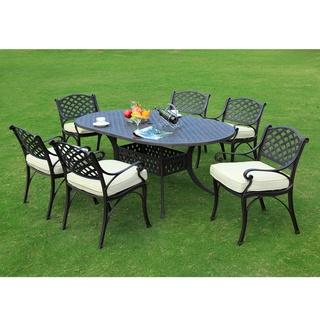Overstockcom Black Cast Aluminum 7 piece Dining Set