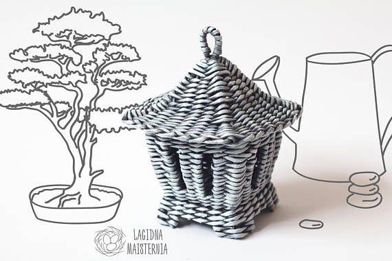 Japanese style decor Grey candy box Decorative lantern Wicker