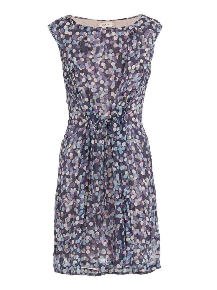 Spotted tea dress Dark Blue
