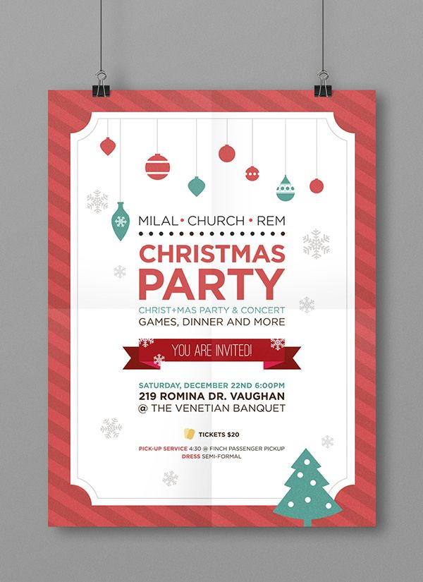Christmas Party Poster Ideas Part - 29: Christmas Party Poster And Ticket Design