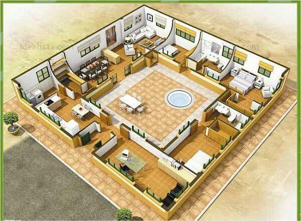1000 images about arquitectura planos en pinterest for Planos de casas con patio interior
