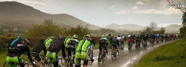 Giro D'italia cycling May 2014 on the longfield rd, Forkhill with great views of Slieve Gullion.