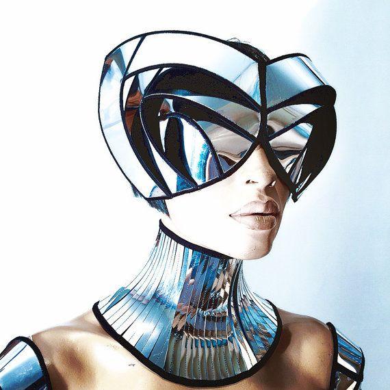 cyborg goggles with horns futuristic, sci fi, cyber eyewear, mask, goggles,baphomet mask