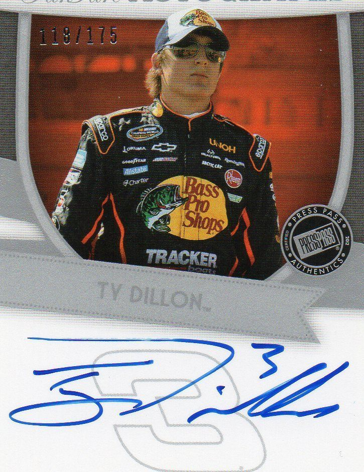 2012 TY DILLON PRESS PASS FANFARE AUTOGRAPHS/AUTO 118/175 (FF-TD) NASCAR CARD!