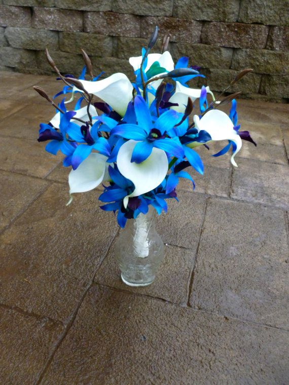 Galaxy orchid calla lily bridal bouquet, real touch calla lilies, blue dendrobium orchid