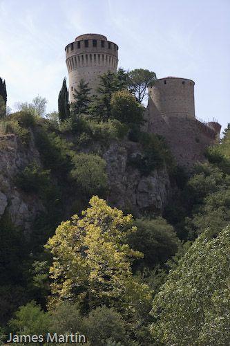 Brisighella, Italy - Rocca Manfrediana towers over the village of Brisighella. 44°13′00″N 11°46′00″E