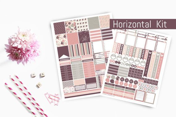 Horizontal Planner Stickers Purple Planner by PrintsesPlanner