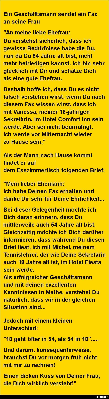 Ein Geschäftsmann sendet ein Fax an seine Frau.. | DEBESTE.de, Lustige Bilder, Sprüche, Witze und Videos