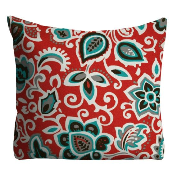 Red Aqua Floral Outdoor Pillows Red 20 x 20 by FineFreshDesign