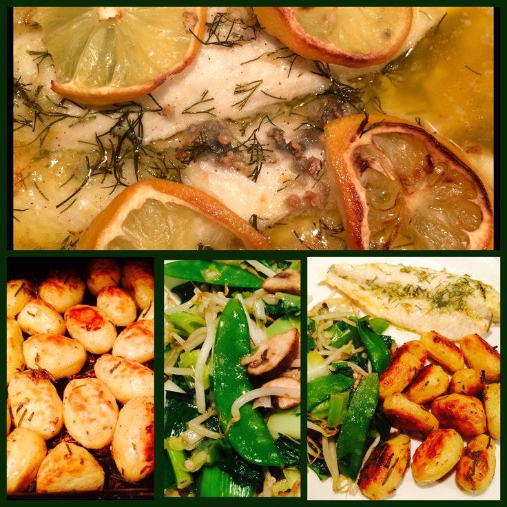 #Potatoes# (baby potatoes ) #Pangafilet# &  Stir-fried Vegetables   Pangafilet  Ingredients:  Pangafilet Butter Olive oil Garlic Black pepper Dill Grated lemon peel Lemon juice Salt  -----------------------------  Potatoes ( baby potatoes )  Ingredients:  Potatoes Garlic Black pepper Olive oil Rosemary Salt  -----------------------------  #Aardappelen# (Krieltjes) #Pangafilet# & Wokgroenten  Pangafilet  Ingrediënten:  Pangafilet Boter Olijfolie Knoflook Zwarte Peper Dille Geraspte…