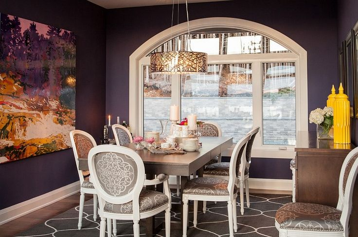 Combine classic and modern touches in the purple dining room How to Fashion a Sumptuous Dining Room Using Majestic Purple