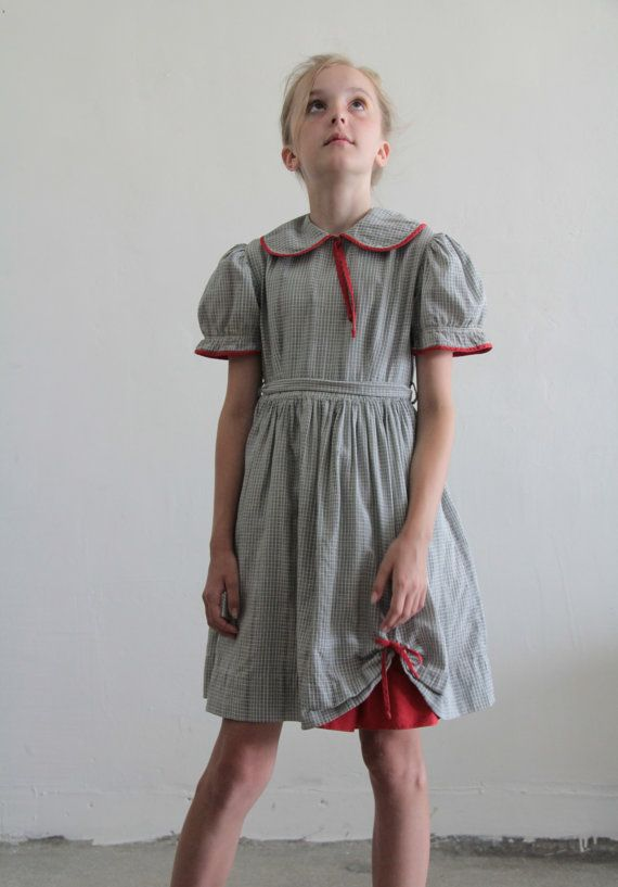 1950s Little Girl Dress Plaid Grey And White Red By