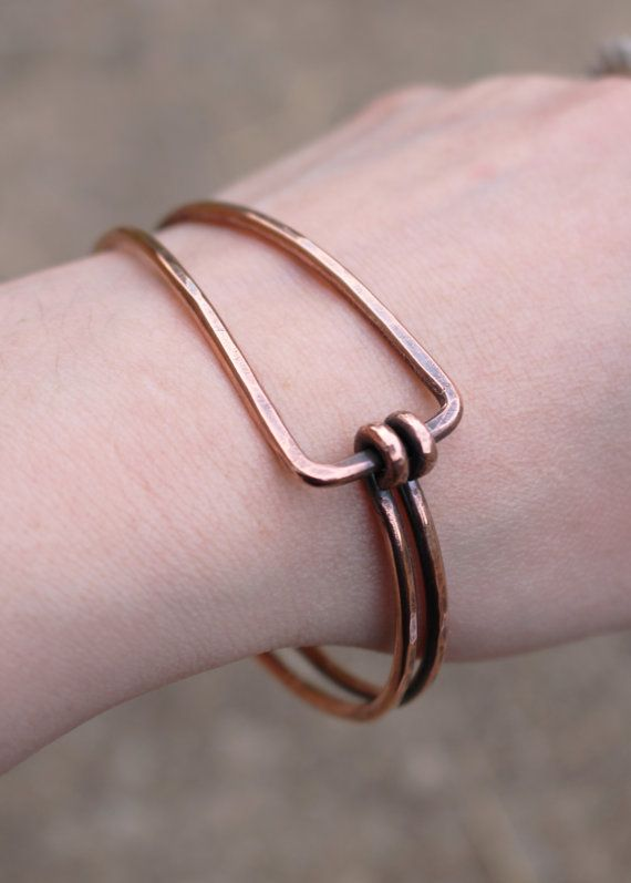 This bangle is handcrafted with very thick, sturdy 9 gauge copper wire. Please note that bangle bracelets slide over the hand and fit loose.
