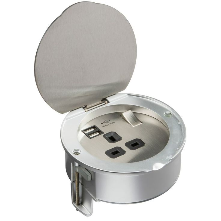 13A 1G ROUND RECESSED WORKTOP SOCKET WITH USB CHARGER PORTS - BRUSHED  STEEL