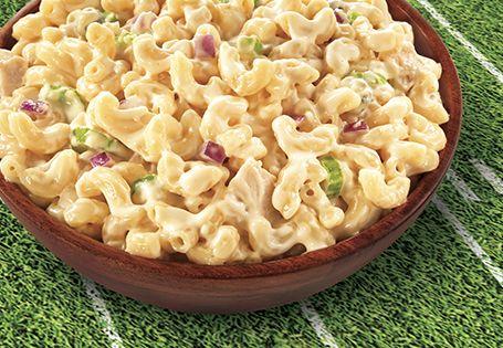 Game-watching gourmet Buffalo Chicken Macaroni Salad. Touchdown!