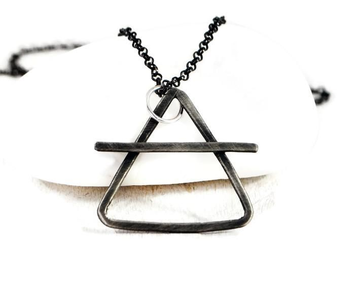 Alchemy Symbol Necklace. Mens Sterling Silver Chain Necklace. Custom Made. Air, Fire, Water, Earth Symbol. Element Jewelry.