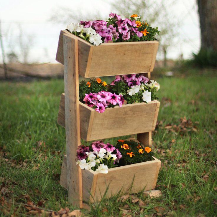 caja de reclamado madera vertical u jardineras exterior u rstico madera flor del jardn herbario vertical u apilados plantador de la flor u u jardinera