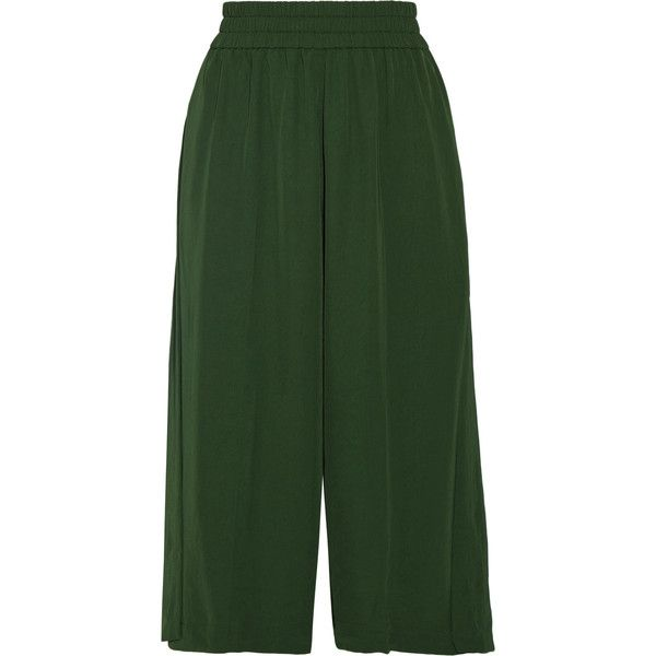 Acne Studios Imri twill culottes (5.915 ARS) ❤ liked on Polyvore featuring pants, capris, forest green, twill pants, green wide leg trousers, forest green pants, green wide leg pants and pocket pants