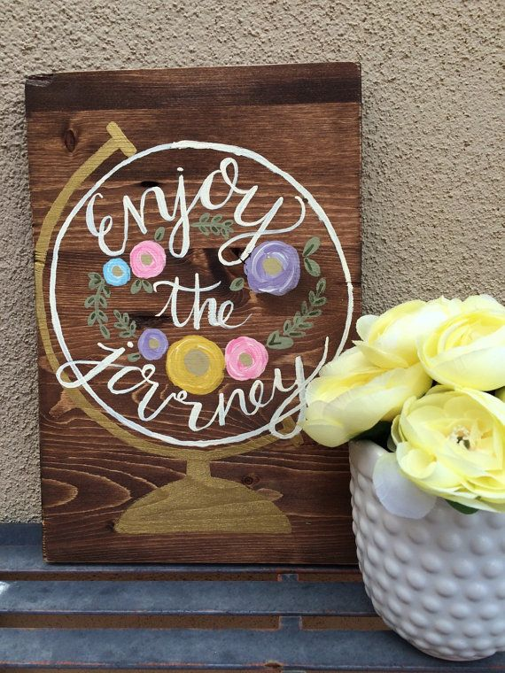Enjoy the Journey Globe Wood Sign Rustic Wood by RusticShineStudio