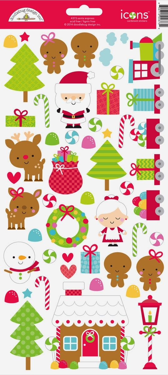 Santa Express Collection Launch & Giveaway from Doodlebug Design - santa express icon sticker