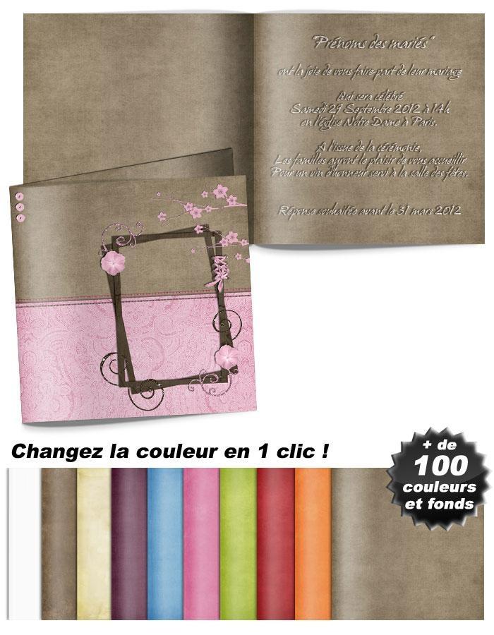 Faire-part de mariage moderne et original : Bicolore rose et chocolat orné de volutes