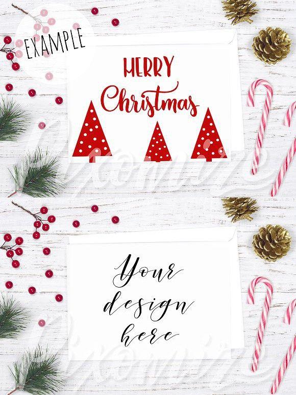 Horizontal Christmas Card Mockup Christmas Cards Christmas Props Cards