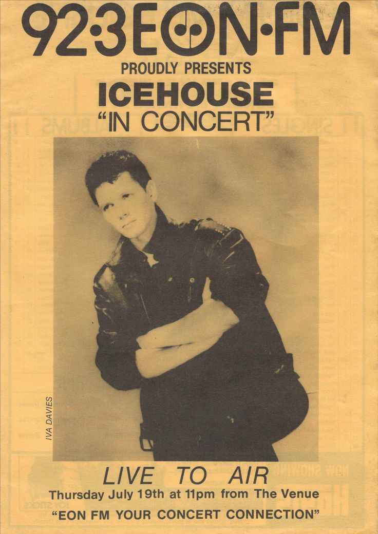 EON FM Icehouse In Concert - music survey chart - 1984